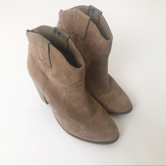 cbd81164f95 Merona Cowboy Boots Size 8 Ankle Booties Tan Suede